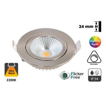 NIEUW: FLAT Inbouw LED Spot 5w, 450 Lumen, 2200K, Kantelbaar, IP54, Dimbaar, CRI90, Staal Armatuur, Gatmaat 75mm, 2 Jaar Garantie