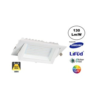 LED Etalage Spot 20w, 2600 lm (130lm/w), Samsung LED, Lifud Driver, Gatmaat 230x130mm, CRI90, Wit, 3 Jaar Garantie