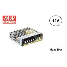 MeanWell Led Strip voeding 12V/75W/6,2A, Max: 60w, 2 Jaar Garantie