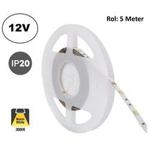 Led Strip ROL 5 Meter 5050SMD, 6,4w/m, 30 led/m, 700Lm/m, 3000K Warm wit, 12v, IP20, 10mm, 2 Jaar garantie