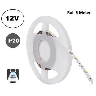 Led Strip ROL 5 Meter 5050SMD, 6,4w/m, 30 led/m, 700Lm/m, 4000K Neutraal wit, 12v, IP20, 10mm, 2 Jaar garantie