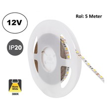 Led Strip ROL 5 Meter 5050SMD, 12,6w/m, 60 led/m, 1200Lm/m, 3000K Warm wit, 12v, IP20, 10mm, 2 Jaar garantie