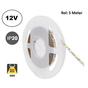 Led Strip ROL 5 Meter 5050SMD, 12,6w/m, 60 led/m, 1200Lm/m, 3000K Warm wit, 12v, IP20, 10mm, 2 Jaar garantie