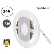 Led Strip ROL 5 Meter 5050SMD, 13,6w/m, 60 led/m, 1320Lm/m, 3000K Warm wit, 24v, IP20, 10mm, 2 Jaar garantie