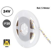 Led Strip ROL 5 Meter 5050SMD, 13,6w/m, 60 led/m, 1320Lm/m, 3000K Warm wit, 24v, IP20, 10mm, 2 Jaar garantie