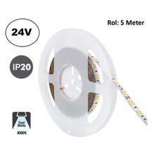 Led Strip ROL 5 Meter 5050SMD, 13,6w/m, 60 led/m, 1320Lm/m, 4000K Neutraal wit, 24v, IP20, 10mm, 2 Jaar garantie
