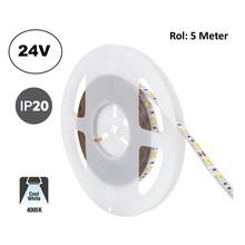 Led Strip ROL 5 Meter 5050SMD, 13,6w/m, 60 led/m, 1320Lm/m, 4000K Neutraal wit, 24v, IP20, 10mm, 2 Jaar garantie