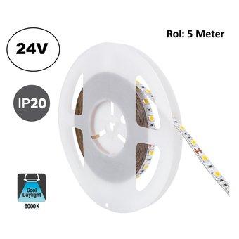 Led Strip ROL 5 Meter 5050SMD, 13,6w/m, 60 led/m, 1320Lm/m, 6000K Daglicht wit, 24v, IP20, 10mm, 2 Jaar garantie