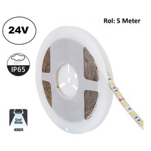Led Strip ROL 5 Meter 5050SMD, 13,6w/m, 60 led/m, 1320Lm/m, 4000K Neutraal Wit, 24v, IP65, 10mm, 2 Jaar garantie