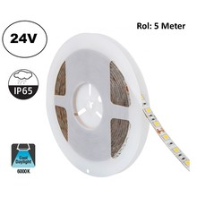 Led Strip ROL 5 Meter 5050SMD, 13,6w/m, 60 led/m, 1320Lm/m, 6000K Daglicht Wit, 24v, IP65, 10mm, 2 Jaar garantie