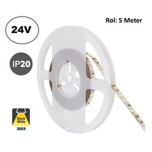 Led Strip ROL 5 Meter 2835SMD, 10,5w/m, 120 led/m, 1100Lm/m, 3000K Warm wit, 24v, IP20, 8mm, 2 Jaar garantie