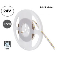Led Strip ROL 5 Meter 2835SMD, 10,5w/m, 120 led/m, 1100Lm/m, 4000K Neutraal wit, 24v, IP20, 8mm, 2 Jaar garantie