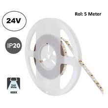 Led Strip ROL 5 Meter 2835SMD, 10,5w/m, 120 led/m, 1100Lm/m, 4000K Neutraal wit, 24v, IP20, 8mm, 2 Jaar garantie