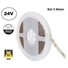 Led Strip ROL 5 Meter 2835SMD, 10,5w/m, 120 led/m, 1100Lm/m, 3000K Warm wit, 24v, IP65, 8mm, 2 Jaar garantie