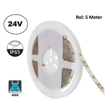 Led Strip ROL 5 Meter 2835SMD, 10,5w/m, 120 led/m, 1100Lm/m, 6000K Daglicht wit, 24v, IP65, 8mm, 2 Jaar garantie