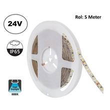 Led Strip ROL 5 Meter 2835SMD, 10,5w/m, 120 led/m, 1100Lm/m, 6000K Daglicht wit, 24v, IP65, 8mm, 2 Jaar garantie