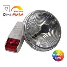 G53 AR111 LED Spot 12w, 700 Lumen, Dim To Warm, 24°, CRI90, Incl. Led Driver, Dimbaar, 2 Jaar Garantie