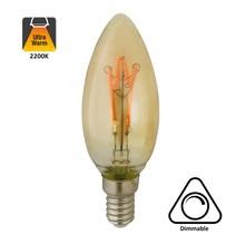 E14 Filament Kaarslamp 4w, H Spiraal, Amber, 160 Lumen, Dimbaar, 2 jaar garantie