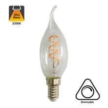 E14 Filament Kaarslamp met Tip 4w, V Spiraal, 180 Lumen, Dimbaar, 2 jaar garantie