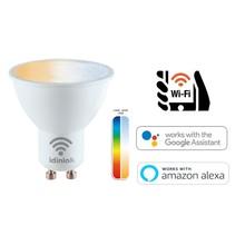 Idinio Smart WiFi GU10 LED Spot 5,5w, RGB+CCT, 345 Lumen, Werkt via Idinio App / Google Assistant / Amazon Alexa, 2 Jaar Garantie
