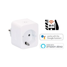 Idinio Smart WiFi EU-stekker Plug, Met Timerfunctie,  Met Energiemeter, Werkt via Idinio App / Google / Amazon