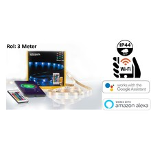 Idinio Smart WiFi LED Strip RGB+Warm Wit, 12W, 550 Lumen, 3 Meter, IP44, 12V Werkt via Idinio App / Google Assistant / Amazon Alexa, 2 Jaar Garantie