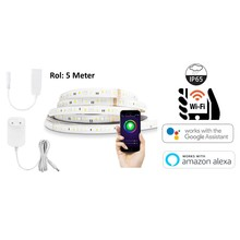 Smart WiFi LED Strip RGB+CCT, 24W, 200 Lm/m, 5 Meter, IP65, 12V, Werkt via TUYA App / Google Assistant / Amazon Alexa, 2 Jaar Garantie