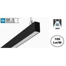 Led Linear Lamp 120cm met <UGR19 Diffuser, 40w, 3600 Lumen (100lm/w), 4000K Neutraal wit, Zwartkleurige Behuizing, 3 Jaar Garantie