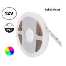 Led Strip ROL 5 Meter 5050SMD, 13,6w/m, 60 led/m, RGB, 12v, IP65, 10mm, 2 Jaar garantie