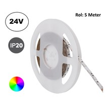 Led Strip ROL 5 Meter 5050SMD, 13,6w/m, 60 led/m, RGB, 24v, IP20, 10mm, 2 Jaar garantie