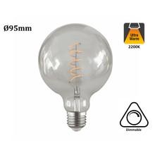 E27 Led Lamp 4w Edison, Globe 95, 2200K Flame, 180 Lumen, Dimbaar, Helder Glas, 2 Jaar Garantie