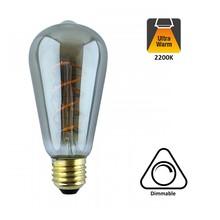 E27 Led Lamp 6,5w Edison, ST64, 2300K Flame, 325 Lumen, Dimbaar, Smoked Glas, 2 Jaar Garantie