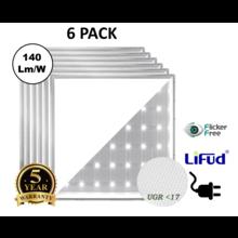 6 PACK - PRO Backlite LED Paneel 60x60cm,  30w, 4020-4325 Lumen (130-140lm/w), UGR17, Flikkervrije Lifud Driver, Stekkerklaar, 5 Jaar Garantie