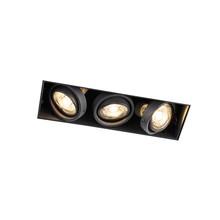 Trimless Inbouw Spot Armatuur, gatmaat 270x89mm, Zwart, incl. Stucrand (3x GU10 50mm spot)