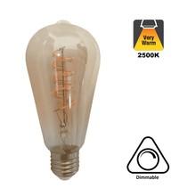 E27 Led Lamp 6,5w Edison, ST64, 2500K Flame, 325 Lumen, Dimbaar, Amber Glas, 2 Jaar Garantie
