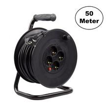 Kabelhaspel 50 meter + 4x Schuko 16A 220-250VAC , Snoerdikte: 3x 1,5mm2, Max: 1100/ 3200W, IP20, inclusief kinderbeveiliging en overspanningsbeveiliging