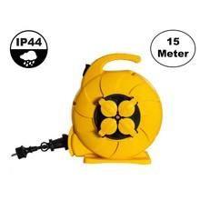 Automatische Kabelhaspel Geel 15 meter + 4x Schuko 16A 220-250VAC , Snoerdikte: 3x 1,5mm2, Max: 1000/ 3000W, IP44 (Spatwaterbestendig), inclusief kinderbeveiliging en overspanningsbeveiliging