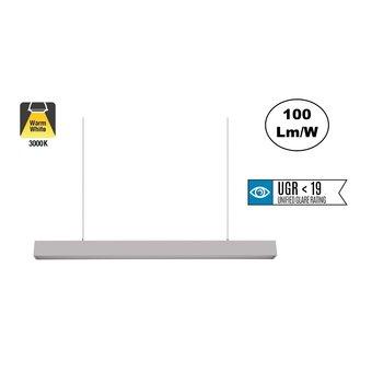 Led Linear Lamp 120cm met <UGR19 Diffuser, 40w, 4000 Lumen (100lm/w), Zilverkleurige Behuizing, 3 Jaar Garantie
