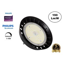High Bay Led Ufo Xitanium 100w, 19000 Lumen, IP65, Philips Driver en LumiLeds, 1-10v Dimming, 5 Jaar Garantie
