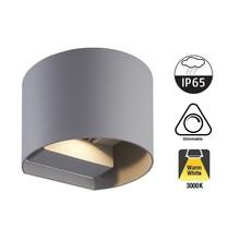LED Wandlamp TEB 2x3 Watt, 2x 255 Lumen, 3000K Warm Wit, Dimbaar, IP65, Grijs, 2 Jaar Garantie