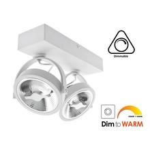 Opbouw LED Spot 2x AR111, 24w, 1300 Lumen, Dim To Warm, Dimbaar, Wit Armatuur, 3 Jaar Garantie