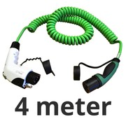 Ratio Laadkabel type 1 naar type 2 - coiled - 1 fase - 16A - 4 meter