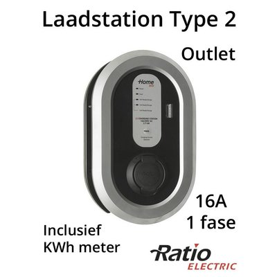 Ratio EV Laadstation type 2 Outlet 16A + KWh meter