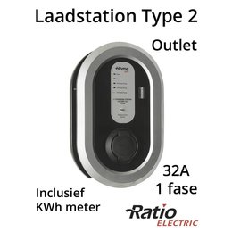 Ratio EV Laadstation type 2 Outlet 32A + KWh meter