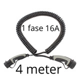 Ratio Laadkabel type 2 naar type 2 - coiled - 1 fase 16A - 4 meter