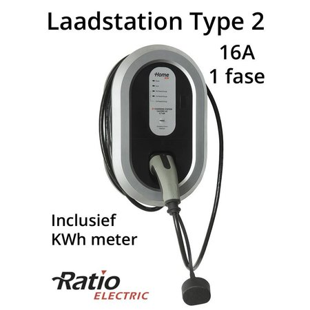 Ratio EV Home Box Plus Laadstation type 2, 16A met vaste rechte laadkabel + KWh meter