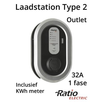 Ratio EV Home Box Plus Laadstation type 2 Outlet 1 fase 32A + KWh meter