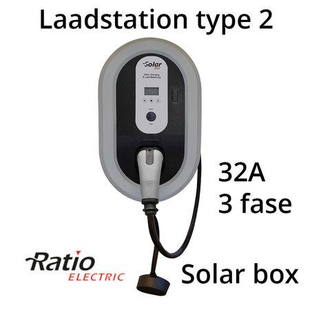 Ratio Solar Box 32A 3 fase met 10 meter vaste laadkabel type 2