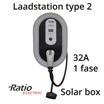 Ratio Solar Box 32A 1 fase met 10 meter vaste laadkabel type 2