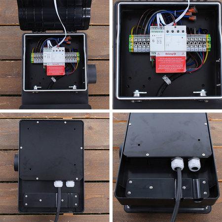 EVHUB Laadstation type 1, 16A, 1 fase met vaste rechte laadkabel - 5 meter - Zwart